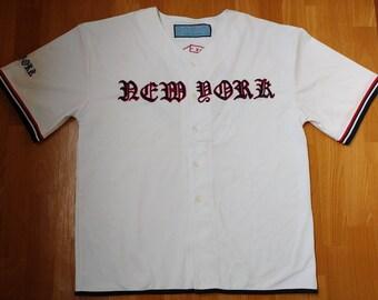 New York t-shirt, vintage NYC jersey, 1990s hip hop shirt, old school 90s hip-hop clothing, streetwear, gangsta rap, OG, size L Large