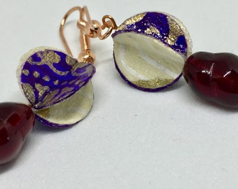 Embellished PAPER Earrings - Italian Paper - Bright and Colorful - Dramatic Drop Earrings