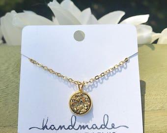 Dainty Gold Druzy Necklace