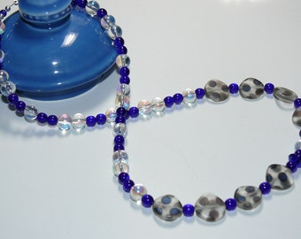 Blue Lapis Glass Round & Clear Coin Glass Polka Dot Bead Handmade Necklace