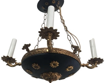 Vintage 1950's French Empire Style Tole Chandelier