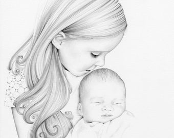 Custom Portrait Drawing Custom Pencil Portraits Custom Portraits Kids Portraits Personalized Pencil Portraits Hand Drawn Portrait Baby Art