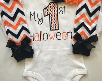 Baby Girl 1st Halloween Outfit -- Halloween baby costume outfit - my first Halloween - Newborn Girls Halloween - baby halloween clothes