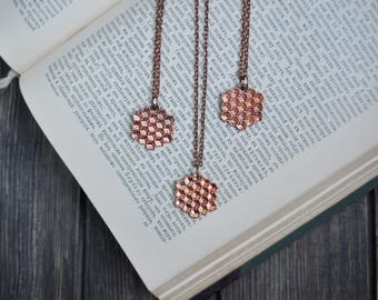 Electroform honeycomb necklace, electroformed beeswax, bee jewelry, copper electroforming, honey comb pendant,  hexagon