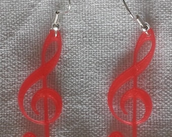 Treble clef coral earrings