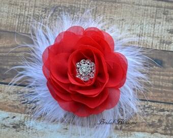 Red Chiffon Flower Hair Clip | Vintage Inspired Bridal Hair Piece | Fascinator | Flower Girl Feathers Pearl Rhinestone Christmas Valentine's