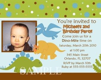 Dinosaur Birthday Party Photo Card Invitation Boy or Girl