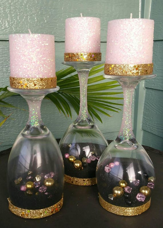 Upside Down Wine Glass Candle Holders Set Of 3