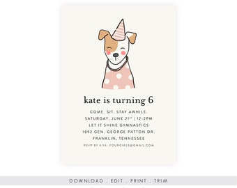 Puppy Birthday Party Invitation with Picture | Puppy Birthday Invitation, Instant Download, Digital Download, Printable Template, DIY PDF