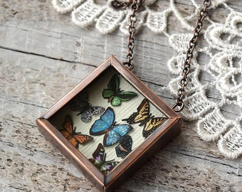 Butterfly Collection Necklace in Antiqued Copper