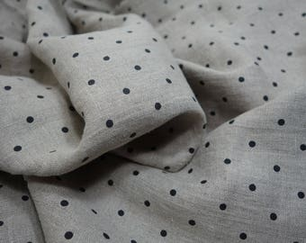 Softened linen fabric by the meter, organic flax fabric, polka dot, undyed prewashed stonewashed black dots linen fabric by the yard 200 gsm