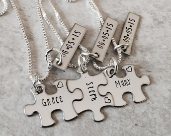 Set of personalized puzzle piece necklaces bridesmaid gifts sorority sisters wedding gifts wedding favors custom jewelry monogrammed jewelry