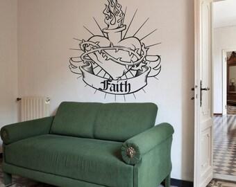 sacred heart wall decal, custom banner wall sticker, tattoo art, religious art, christian art, FREE SHIPPING