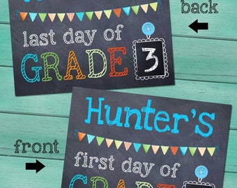 First and Last Day of Grade School Personalized CHALKBOARD - Blue FL0008