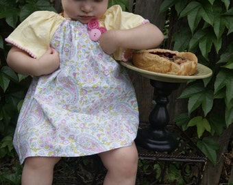 Paisley Pink and Yellow Dress with Bow 9-18 month size