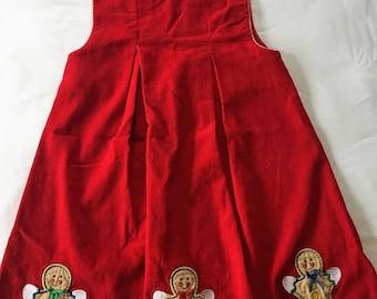 Vintage Red Corduroy Gingerbread Christmas Dress
