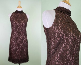 1960s Sleeveless Lace Overlay Dress - Vintage 50s 60s Brown Dress - XS