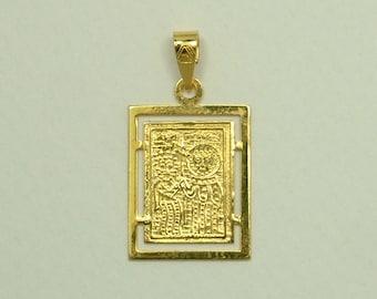 Gold 14k Byzantine Christian Pendant (Βυζαντινό Κωνσταντινάτο Μενταγιόν Χρυσό 14k)