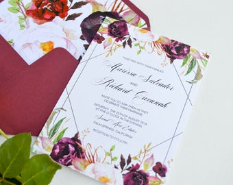 Printable Wedding Invitation,Floral Wedding,Invitation Suite,Wedding Stationery,Bohemian Wedding,Calligraphy,Invitation Template,Geometric