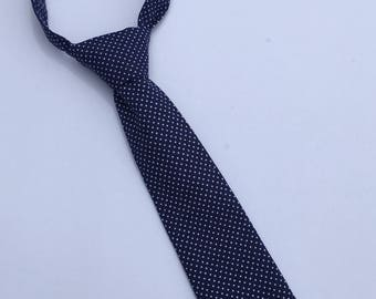 Boys Neck Tie, Navy Blue and White Polka Dot Necktie, Infant Tie, Toddler Neck Tie, Baby Neck Tie, Pin Dot Tie