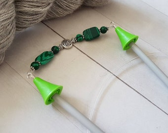 Celtic Knot Point Protectors -for Knitting Needles -Knitter Accessory -Knit Notion -Beaded Point Protectors for Knitters -Green -Silver
