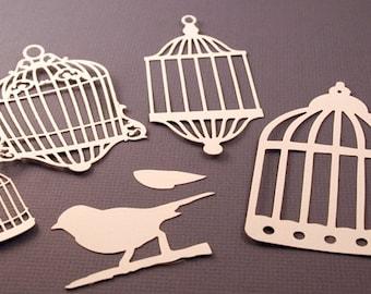 Bird cage and bird, Die Cut, Embellishment