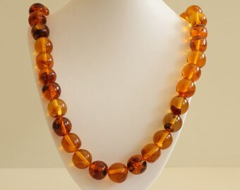 Genuine Baltic See Amber Necklace Large Round Beads