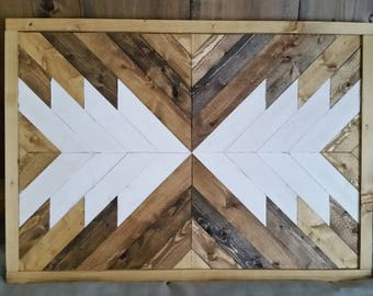 Wooden Arrow Framed Wall Hanging - Native Tribal Geometric