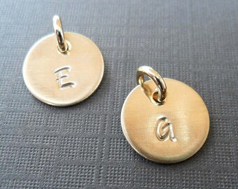 Initial Charm -Gold Initials - Gold Fill Add-on Initial Charm- Hand-Stamped Custom Letter - S197