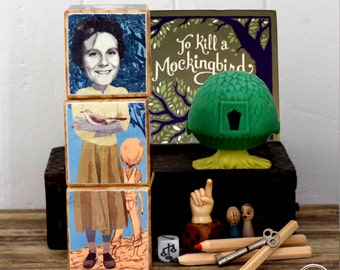 WritersBlocks, Ladies of Letters. Wood blocks featuring Jane Austin, Harper Lee, Alice Walker, Virginia Woolf, JK Rowling and Miles Franklin