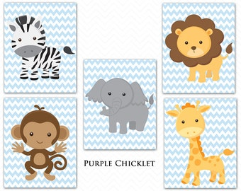Giraffe Monkey Elephant Lion Zebra Baby Blue Chevron Zoo Animals Nursery Room Decor Wall art Jungle Animals Prints Art for Kids Room 196a-d