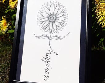 Happiness Sunflower Illustration, Dotwork