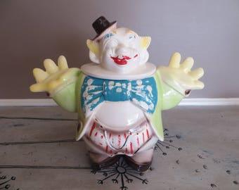 RARE Clown Cookie Jar Collectible Cookie Jar Butler Clown Maurice Ceramics of California JD 19