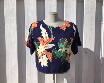 vintage cropped t-shirt, crop top, vintage beachwear, boxy fit, oversized short t-shirt, tropical print, made in thailand - 80s/90s