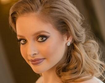 Rose gold stud earrings, crystal bridal studs, luxury bridal earrings, diamond bridal jewelry, bridesmaid earrings