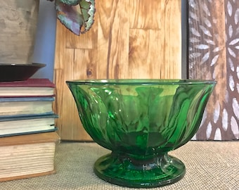 Green Pressed Glass Candy Dish- vintage/ retro