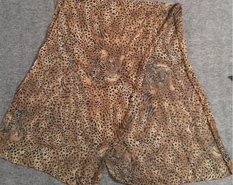 Vintage Leopards on Leopard Print Ponytail or Neck Scarf