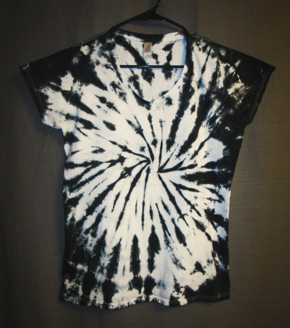 Tie Dye Shirt/Womens V-Neck T-Shirt/Black & White Spiral Design/Eco-Friendly Dying