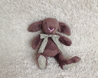 Plush bunny, rabbit, stuffed, brown,gray - Easter bunny - baby shower toy