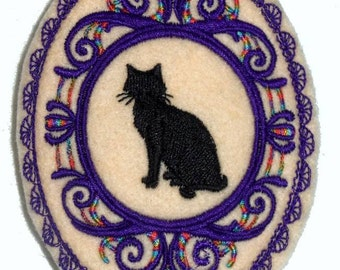 machine embroidery cameo  black cat  hair barrette wiccan pagan witch