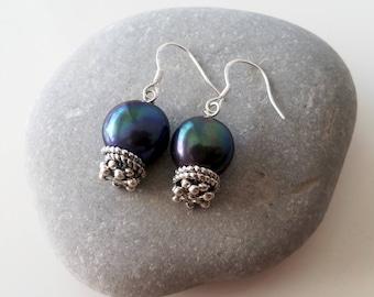 Genuine pearl earrings, fish hook earrings, dangle pearl earrings, freshwater pearl earrings, pearl hook earrings, blue green pearl earrings