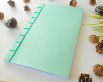 Travelers notebook- Turquoise soft covers- Japanese binding and 100 blank pages by ExiArts- gift for him/her notebook- 100% recycled pages