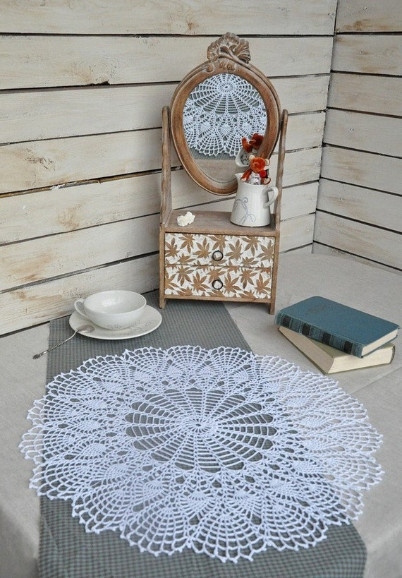 Crochet Lace Doily White Elegant Round Lace Table Topper