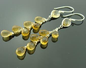 Citrine 925 Sterling Silver Cascade Gemstone Earrings