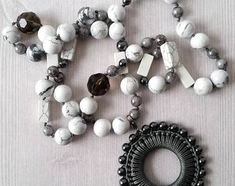Howlite Knotted Necklace, gemstone necklace with REMOVABLE CHARM, boho necklace