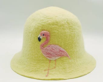 Lemon yellow Wool hat with Flamingo,Needle Felted hat pattern for  Christmas gift ,Fisherman hat