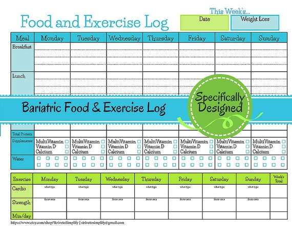 Bewitching image pertaining to printable food and exercise journal