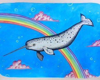Narval narwhal rainbow  original painting unicorn sea mermaid whale dolphin