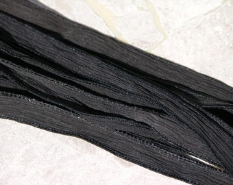 BLACK Silk Ribbons, Qty 5 Hand Dyed Silk Strings, Crinkle Silk Ribbon, Jewelry Making Stringing Supplies, Wraps for Jewelry and Crafts