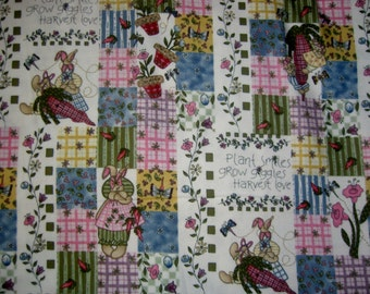 """Floral flannel fabric garden bunny patchwork  cotton print quilt sewing material 12"""" remnant Hatfield's Tenderberry Stitches"""